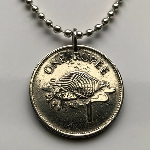 2010 Seychelles 1 Rupee coin pendant conch shell white sailfish marlins Seychellois shield coral beaches Victoria African necklace n002047