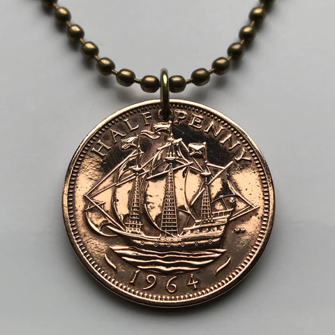 1943 United Kingdom 1/2 Penny coin pendant Golden Hind ship British galleon Great Britain Manchester English England London n000009