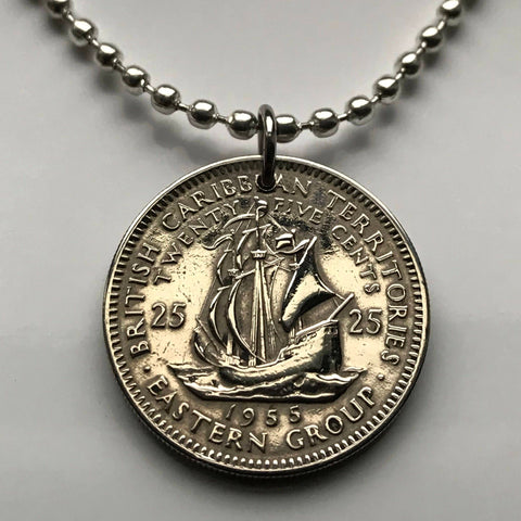 East Caribbean State 25 Cent coin pendant Golden Hind galleon ship Antilles Leeward British Virgin Windward Islands n000595
