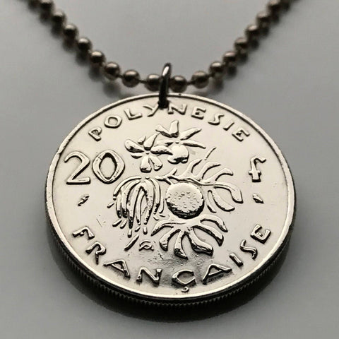 1972 or 1984 French Polynesia 20 Francs coin pendant vanilla shoots bread fruit Huahine South Pacific Maori tiki Papeete Maohis n002342