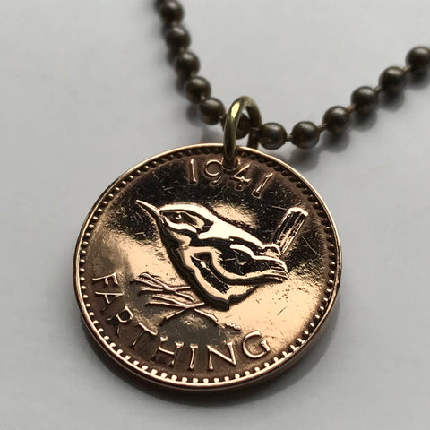 1947 to 1954 United Kingdom Farthing coin pendant wren Jenny bird British English Welsh Scots Irish London Sheffield Great Britain n000049