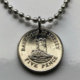 2008 Jersey 5 Pence coin pendant Seymour Tower L'Avarison fortress defence castle offshore tidal island parishes vingtaines necklace n002422