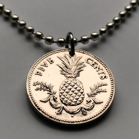 2000 or 2005 Bahamas 5 Cent coin pendant Bahamian pineapple Nassau Andros Exuma & Cays tropical fruit Cat Island Rum Cay Cable Beach n000116