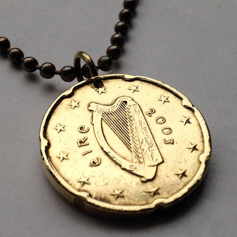 2002 Ireland 10 Euro Cent coin pendant Irish Celtic harp Dublin Éire Cláirseach Gaelic good luck charm Saint Patrick's Day n000755
