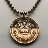 1994 or 1997 Denmark 50 Ore coin pendant Danish crown Copenhagen Dane Danskere king queen Old Norse Scandinavia Viking Baltic royal n000209