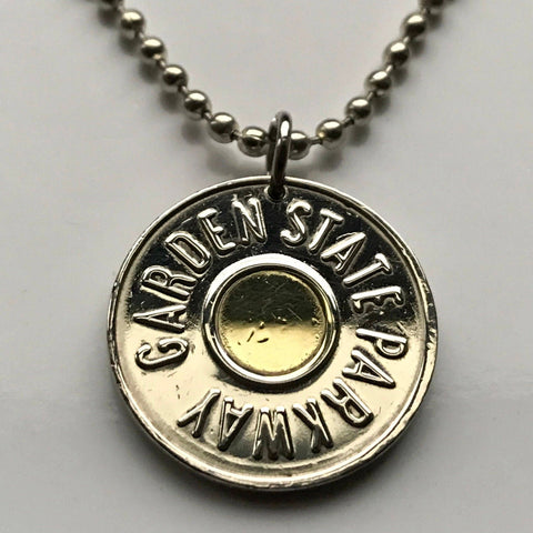 1990's USA NJ New Jersey GSP Garden State Parkway Car Transportation Transit Highway Token coin pendant charm Car Fare necklace n001228