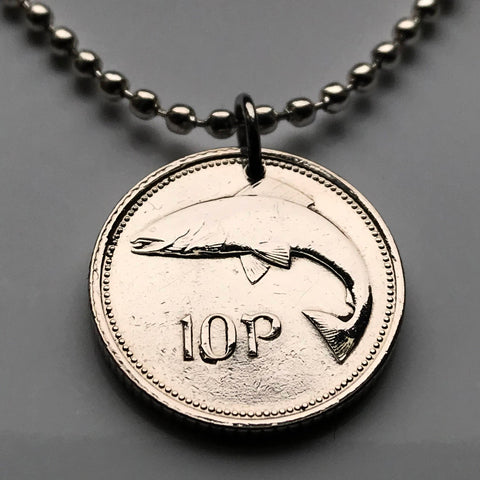 1993 or 1996 Ireland 10 Pence coin pendant salmon fish Irish harp Dublin Éire Drogheda Swords Dundalk Munster Ulster Gaels Goidels fishing n000238