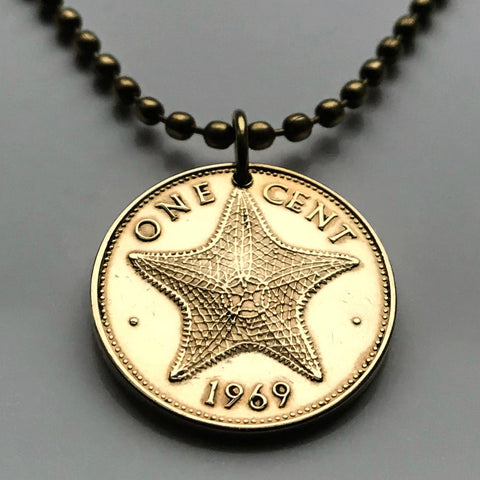 1966 Bahamas Cent coin pendant Bahamian starfish sea star Nassau Andros Exuma Junkanoo Rose Island Lighthouse Beach Rum Cay sand sea n000035