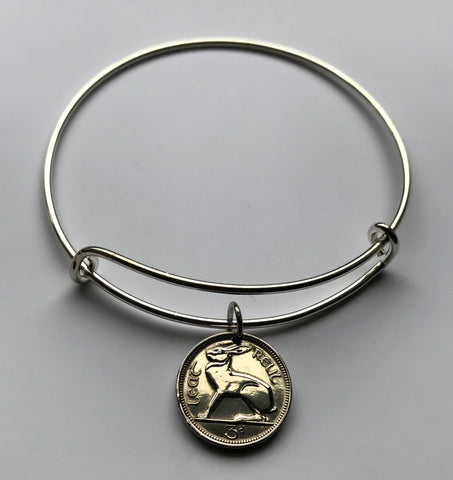 1968 Ireland 3 Pence coin bangle bracelet Irish rabbit bunny hare Dublin Gaelic harp St Patrick's Day cute easter bunny Éire b000017