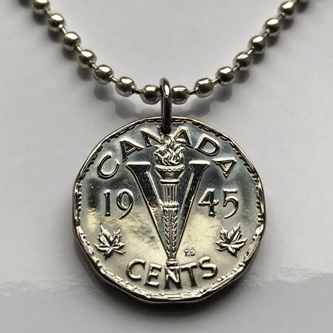 1945 Canada 5 Cents coin pendant Canadian World War 2 initial V for Victory WWII Allied powers Ottawa Toronto Vancouver Nova Scotia n001257