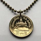 2011 Thailand 2 Baht coin pendant Thai Siam Saket Temple Bangkok necklace Ayutthaya era King Rama IX Asian Indochinese Siamese n001803