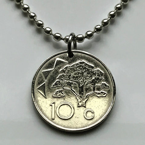 1993 or 2002 Namibia 10 Cents coin pendant Camelthorn tree Windhoek African desert Ovambo Kavango people sun Namibian safari necklace n000771