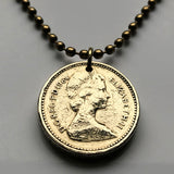 1984 United Kingdom Scotland Pound coin pendant Scottish thistle Edinburgh Glasgow Dundee Paisley Alba Royal Diadem Stirling Abbey Craig Livingston Hamilton Great Britain Sir William Wallace n002395