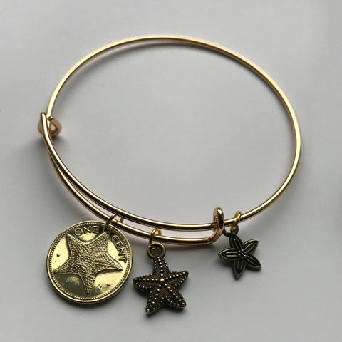 1982 Bahamas 1 Cent coin bangle bracelet Bahamian starfish sea star Nassau beach lover sand caribbean Paradise Island vacation b000018