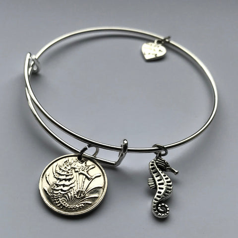 1968 or 1973 Singapore 10 Cents coin bangle bracelet seahorse Bedok crowned cute sea horse sea life ocean beach Chinese jewelry b000022