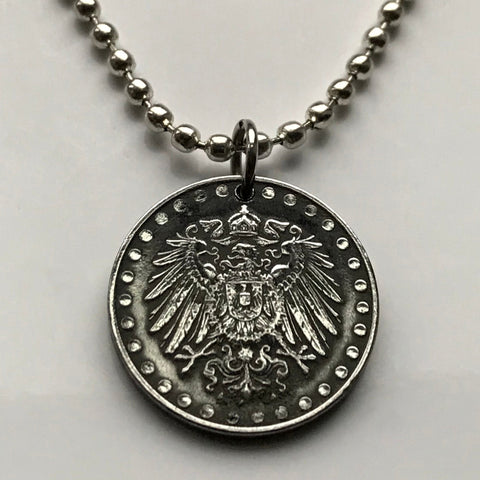 1916 Germany 10 Pfennig coin pendant German eagle Berlin Munich Bundesadler Dresden Bonn Hanover Leipzig Dortmund Bremen World War I n001351