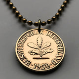 1950 to 1992 Germany 10 Pfennig coin pendant Berlin Deutschland flower gardener planting tree Heidelberg Rothenburg Nuremberg n000198