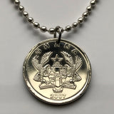 2007 Ghana 20 Pesewas coin pendant gold eagles BLACK STAR Accra Ashanti Asante Ghanaian five-pointed star West African lion necklace n002585