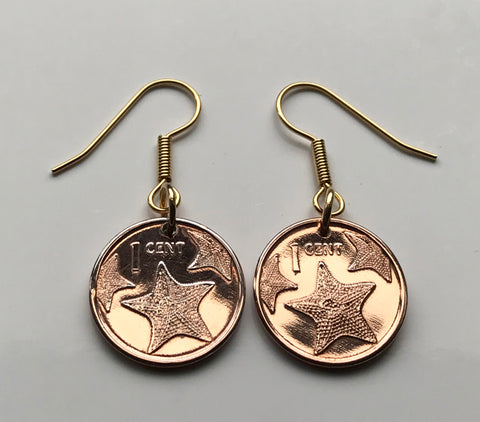 2009 Bahamas Cent coin earrings Bahamian starfish sea star Nassau beach lover ocean sand caribbean Paradise Island vacation e000062