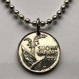 1990 Finland 10 Pennia coin pendant Lily of the Valley flower Suomi Finnish Helsinki Nordic Scandinavian vikings flowering n002588