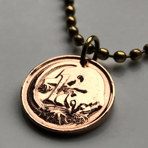 1976 Australia Cent coin pendant Feather-tailed Glider Sydney flying pygmy phalanger Cairns Mackay Gold Coast Southern Cross n000077