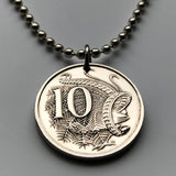1978 Australia 10 Cents coin pendant Aussie Lyrebird Sydney Australian bird colorful plumes tail feathers endemic courtship n000150