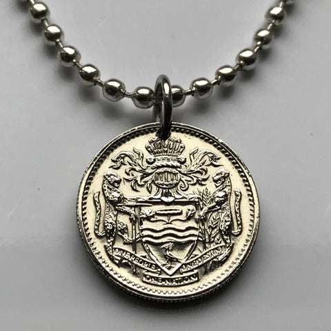 1991 or 1992 Guyana 10 Cent coin pendant jaguar Cacique's Crown Anna Regina Dogla West Indies East Indian Hindu Amerindian creole n000364
