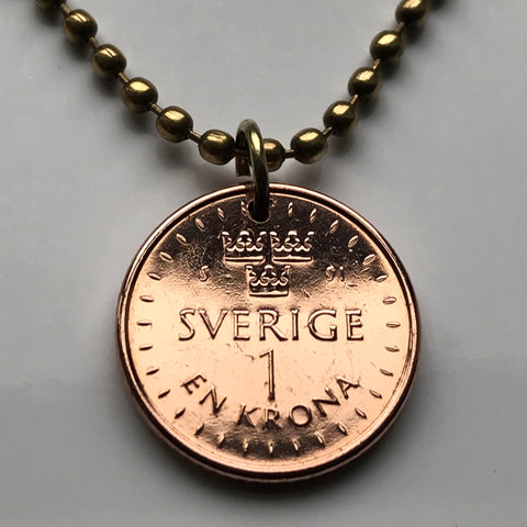 2016 Sweden 1 Krona coin pendant Swedish 3 crowns Stockholm Sverige Malmö Uppsala Nordic Scandinavia Baltic crown king queen viking n002598