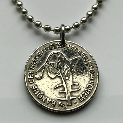 1997 West Africa States 50 Franc coin pendant sawfish Senegal Togo Niger Burkina Faso Dahomey BCEAO African floral crops necklace n001785