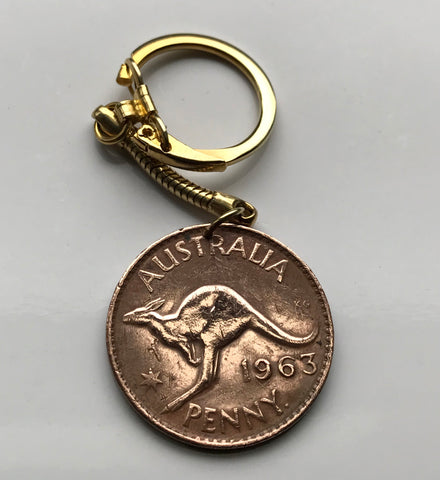 1964 Australia 1 Penny coin pendant kangaroo wallaby roos Sydney Darwin New South Wales Tasmania Aussie Southern Cross Oceania joey n002227