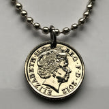 2012 United Kingdom 5 Pence coin pendant Irish harp English lion Belfast London Manchester British Great Britain necklace n002224