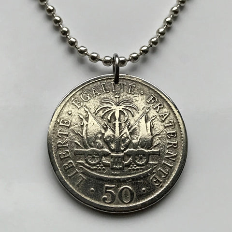 1908 Haiti 50 Centimes coin pendant Haitian Port-au-Prince cannon palm tree Caribbean Hispaniola French creole flag African necklace n001374