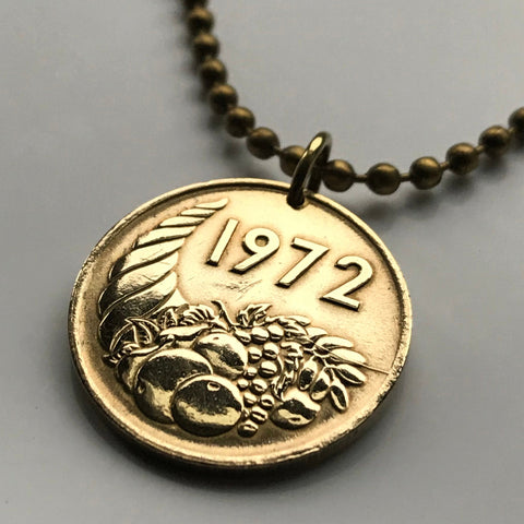 1972 Algeria 20 Centimes coin pendant cornucopia Algiers abundance agriculture Agricultural FAO World Food Day necklace n000729