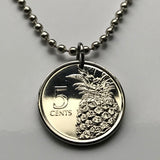 2015 Bahamas 5 Cents coin pendant Bahamian pineapple Nassau Andros Exuma Cays tropical fruit Cat Island Rum Cay Cable Cabbage Beach n001022