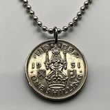 1947 or 1951 United Kingdom Shilling coin pendant Scottish lion Saltire thistle Scotland Scots swords UK British crown shield n001137