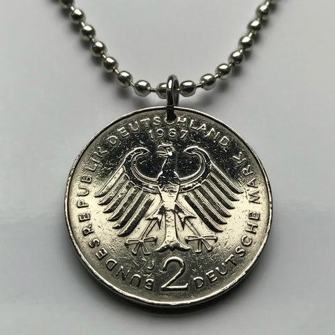 1987 Germany 2 Mark coin pendant German eagle Berlin Hamburg Essen Rothenburg Nuremberg Heidelberg Bonn Duisburg Oktoberfest Bavaria n001705