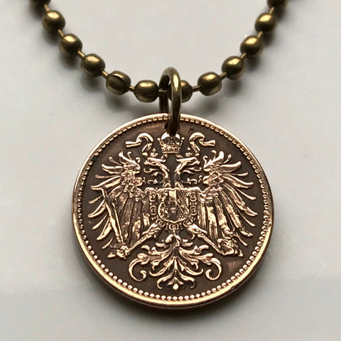1899 Austria 2 Heller coin pendant double headed eagle Vienna Habsburg Austrian crown Budapest necklace n000111