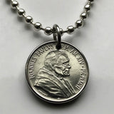 1992 Vatican Italy 50 Lire coin pendant Pope John Paul II Holy See Apostolic Palace St. Peter's Square diocese Episcopal church n002202