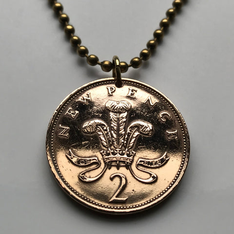 1975 to 2000 UK 2 Pence coin pendant Prince of Wales plume Welsh ostrich feathers Great Britain British Welsh Dragon United Kingdom n000236