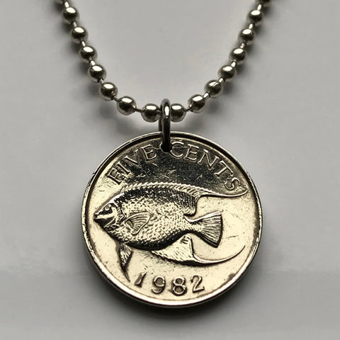 1970 Bermuda 5 Cents coin pendant Bermudian Queen angelfish sea beach caribbean island vacation British West Indies necklace n001266