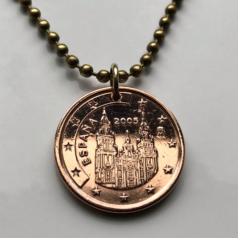 2001 or 2005 Spain 5 Euro Cent Camino de Santiago Compostela cathedral Galicia coin pendant Way of Saint James apostle Ourense Ferrol Christianity Praza do Obradoiro Lugo pilgrimage Madrid Sevilla Pontevedra n000548