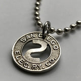 USA San Diego Electric Railway Co. token pendant California Transit System trolley buses coin transportation good for one fare n002849