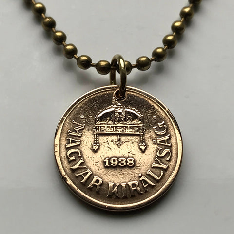 1927 Hungary 2 Filler coin pendant Saint Stephen Holy Crown Buda Pest Hungarian shield Széchenyi Chain Bridge Budavári Palota Danube n001569