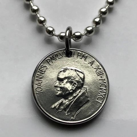 1991 Vatican Italy 50 Lire coin pendant Pope John Paul II Rome Holy See Apostolic Palace St. Peter's Square diocese Episcopal church n002807