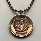 1973 Afghanistan 50 Pul coin pendant Afghan eagle Kabul Herat Islamic Arab Turkic Persian Pashto Hari river mosque falcon necklace n002388