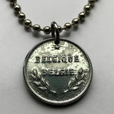 1944 Belgium 2 Francs coin pendant Brussels World War 2 allies Belgian Flemish French Dutch Sinjoren Graslei Grote Markt High Fens n002925