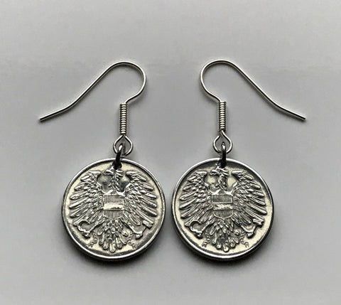 1957 Austria 2 Groschen coin earrings Austrian eagle Vienna Wien Osterreich Habsburg Sankt Pölten Linz Styria Graz dangle and drop e000066