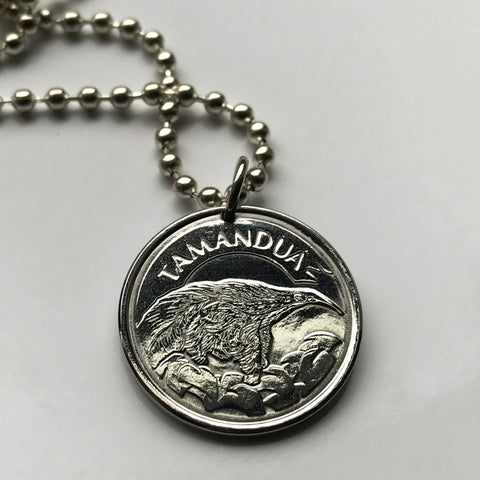 1994 Brazil 10 Cruzeiros coin pendant Brazilian anteater Brasilia Rio Tamandua long tongue nocturnal mammal necklace jewelry n001032