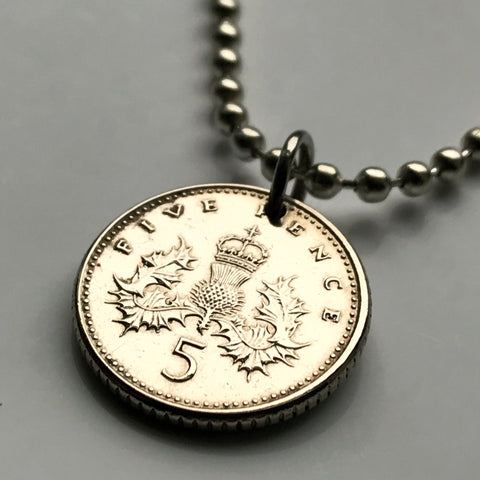 1990 to 2000 United Kingdom Scotland 5 Pence coin pendant crowned Scottish thistle Edinburgh Glasgow Aberdeen Dundee Paisley Stirling St Andrews Perth royal badge Scots jewelry British n001650