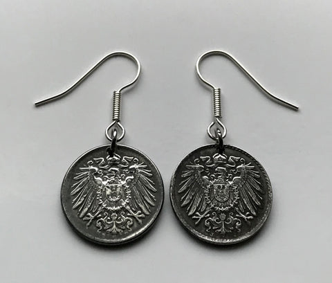 1921 Germany 5 Pfennig coin earrings German eagle Berlin Stuttgart Düsseldorf München Bavaria Bonn World War 1 Iron coin dangle drop e000071